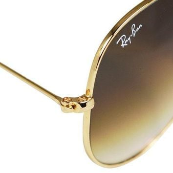 Ray Ban Men's And Women's Rb3025 001/51 Gold Frame Brown Lens Aviator 58mm Sunglasses