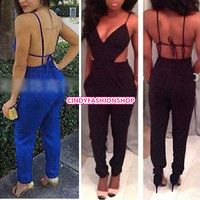 Sexy womens black backless Clubwear Jumpsuits Rompers Bodysuit Dress Outfits