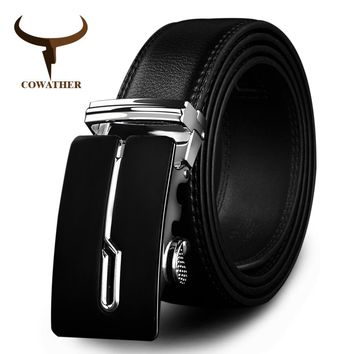 COWATHER 2017 designer belts cow genuine leather belts for men automatic alloy buckle black brown color size 34-44 cz034