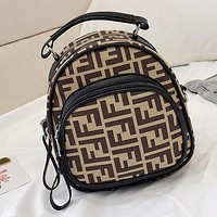 "Hot Sale ""FENDI"" Popular Woman Shopping Leather Handbag Crossbody Satchel Shoulder Bag Mini Backpack Khaki"