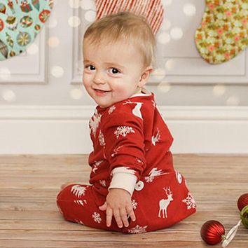 Christmas Fancy Newborn Baby Boys Girl Xmas deer Warm Long Sleeve red Romper New year Jumpsuit Outfits Clothes 0-12M