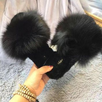 DCCK8X2 UGG Sheep fur one word drag the new autumn/winter slippers plush Black