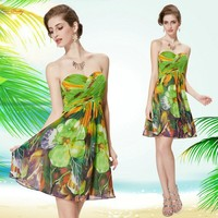 Prom Dress Fashion Yellow Green Purple Blue Floral Printed Strapless Party Dress Summer Dress