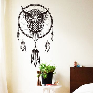 2016 Art Design Indian Dream Catcher Vinyl Owl home Decor Wall sticker  cheap house decoration colorful