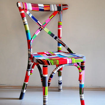4 x colorful Thonet dining chairs custom order by namedesignstudio