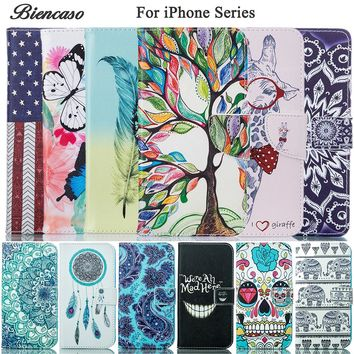 Biencaso Wallet Flip PU Leather TPU Silicone Case For iPhone 8 7 Plus 6 6S 5 5S 5C iPhone6 Plus iPod Touch 5 6 Cover Coque B0