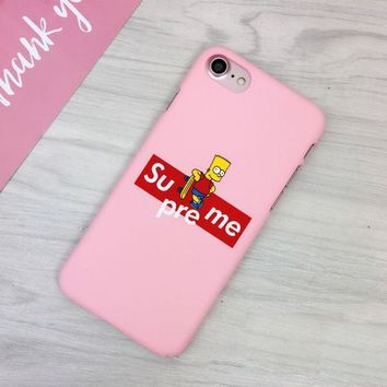 PEAPDQ7 Pink Supreme Simpson Print Iphone 7 7plus &6 6s Plus Cover Case