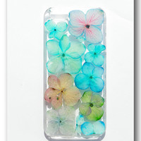 Handmade iPhone 5/5S case, Resin with Dried Flowers,   Mix color Hydrangea (43)
