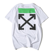 Off White New fashion bust letter colorful stripe and back arrow print top t-shirt White
