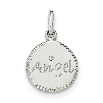 Sterling Silver Polished and Diamond-cut ANGEL CZ Charm