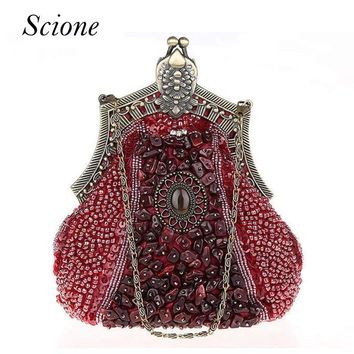 2017 Luxury Vintage Handmade Beaded Evening Bags Bridal Day Clutch Wedding Wallet Purse Women Chains Shoulder Bag Bolsa Feminina