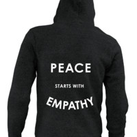 Peace Starts With Empathy - Heavyweight Hoodie (with zip)