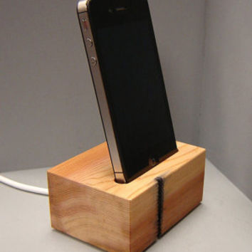 Wooden Iphone Docking Station in Western Red Cedar