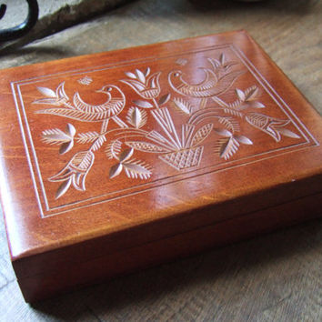 Vintage Scandinavian wooden jewellery box, traditional carved birds, flowers and foliage design, symmetrical. Nordic box, #267.