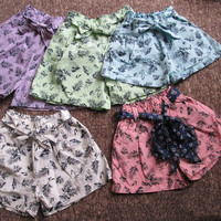 Girls Shorts Summer New Flower Printing Shorts Cotton Linen Children Clothing Hot Sweet Loose Soft Bow Belt Fashion kids Leisure Beach Pant