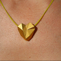 SOLID HEART - 3D printed gold geometric heart necklace