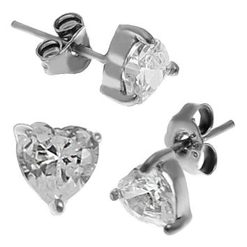 Silver 925 Studs with Heart Shaped Cubic Zirconia