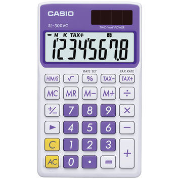 Casio Solar Wallet Calculator With 8-digit Display (purple)