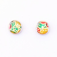 Leaf polka dot earrings, autumn red green yellow, Japanese washi ear stud, washi Chiyogami jewelry, hypoallergenic surgical steel, Asian