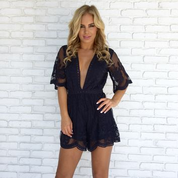 Popping Chic & Lace Romper in Navy Blue