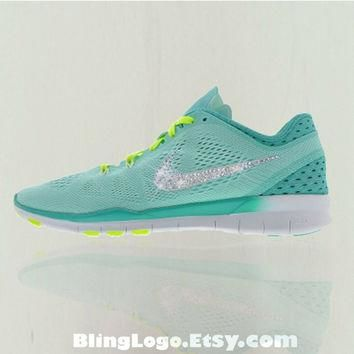 Nike Free 5.0 Tr Fit 5 Breathe Shoes With Swarovski Crysral Rhinestones - Bling Nikes,