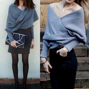 1pc Autumn Winter Loose Knitted Cardigan Coat Scarf Wrap Shawl Long Sleeve Female Fashion Clothes # 36427