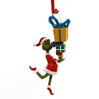 Holiday Ornaments Grinch Stealing Presents Resin Ornament