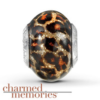 Charmed Memories Leopard Murano Glass  Sterling Silver Charm