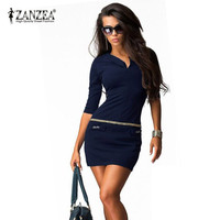 Women Dress V-neck Half Sleeve