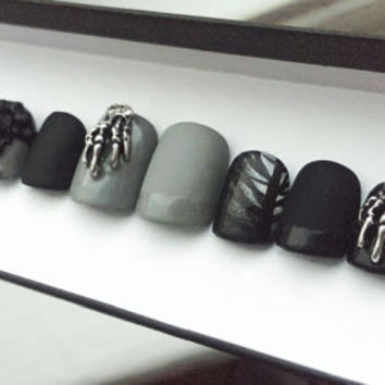 Gothic Press on Nails | Occult | Goth | Skeleton | Witchy | Witch | Handpainted Nail Art | Glue On Nails | Any Shape and Size