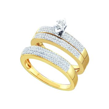 14kt Yellow Gold His & Hers Marquise Diamond Solitaire Matching Bridal Wedding Ring Band Set 1/2 Cttw