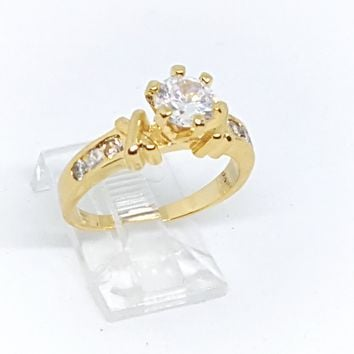 1-3105-h2 Gold Overlay Solitaire CZ Ring. (3 colors available).
