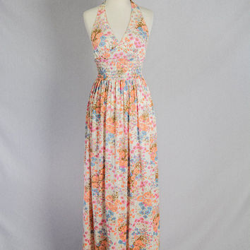 Vintage 1970s Halter Maxi Dress Mod Wildflower Bohemian Print