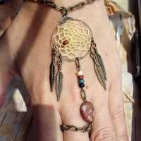 Peace Catcher Bohemian Dreamcatcher Slave Bracelet Bracelet Hippie Tribal Antiqued Brass Native American Inspired Jasper