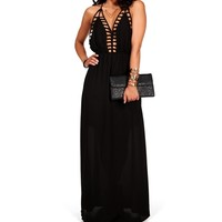 Sale-black Deep Back Cage Maxi Dress