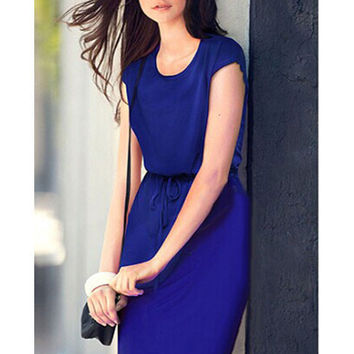 Bat Sleeve Drawstring Midi Dress with