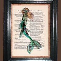 Ocean Greens Mermaid, Kitsch Art, Illustration, Green Mermaid Print Unique Upcycled Vintage Dictionary Page Book Print