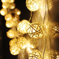 20 LED Warm White Rattan Ball String Fairy Lights For Christmas Xmas Wedding decoration Party Hot use dry battery 13UY