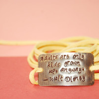 Custom Disney Quote Antique Brass Leather Wrap Bracelet