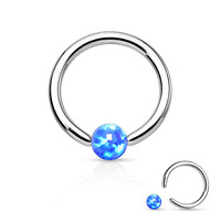 Fire Opal Blue Captive Hoop Daith 16ga Surgical Stainless Steel Ear Jewelry Tragus Cartilage Helix Body Jewelry
