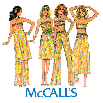 1970s Separates Pattern Uncut Bust 30 31 McCalls 5077 Wide Leg Pants Tube Top Strapless Dress & A Line Skirt Womens Vintage Sewing Patterns