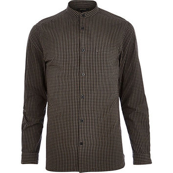 River Island MensGrey gingham check grandad collar shirt