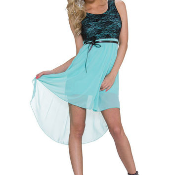 Light Blue Floral Lace Sleeveless A-line Mini Dress