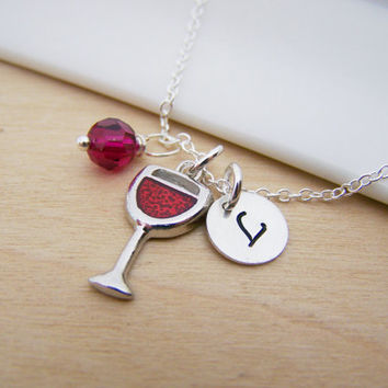 Glass of Wine Charm Swarovski Birthstone Initial Personalized Sterling Silver Necklace / Gift for Her