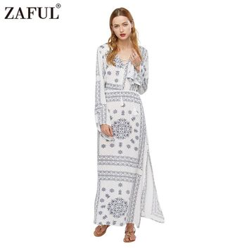 ZAFUL Brand 2017 Women Boho Ethnic Print Maxi Dress Vintage Long Flare Sleeve Retro Casual Party Dresses Plus Size
