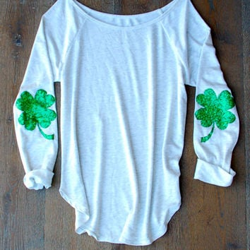 Sequin Four Leaf Clover Shamrock Elbow Patch St Patricks Day Shirt Slouchy Pullover in Light Heather Grey  Sequin Elbow Patch Celtic FC