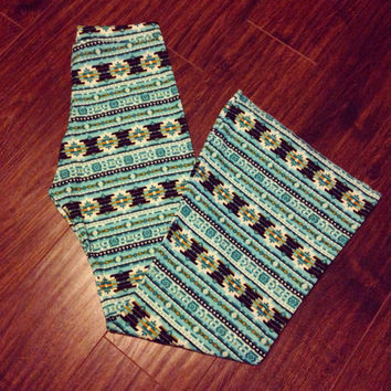 Bell Bottoms Aztec Tribal Ethnic Long Stretch Pants