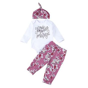 3 Pcs Baby Girls You're My Best Friend Outfit Set