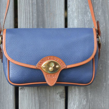 Vintage Dooney & Bourke Blue Calvary Leather Satchel Purse