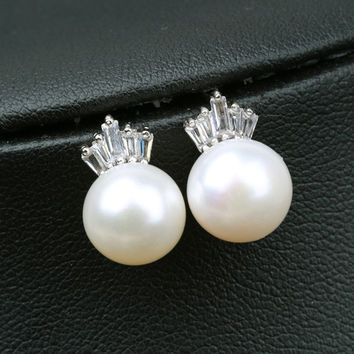 Pearls 925 Silver Crown Earring Accessory [4914882308]